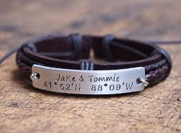 personalized nameplate bracelet men s coordinates bracelet mens leather bracelet customized men s bracelet engraved anniversary bracelet