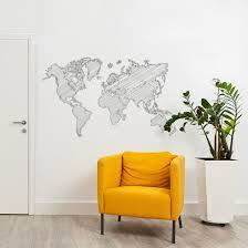 Getekende Wereldkaart Muursticker In 2019 Woonkamer Muurstickers