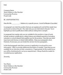 Cover Letter Template Canada Letter Template
