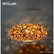 handmade bamboo pendant lamp bird nest home bedroom hotel dinning room restaurant hand knitted suspension hanging light brass pendant lights hanging ceiling