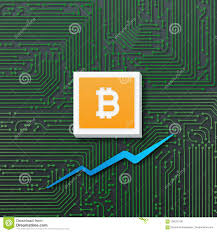 Bitcoin Growth With Market Chart Graph And Circuit Board 3d