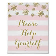 Pink Stripes Gold Snow Please Help Yourself Poster - baby gifts child new  born gift idea diy cyo specia… | Pink wedding sign, Wedding gifts, Gifts  for wedding party