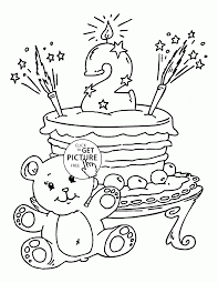 2nd Birthday Cake Coloring Page For