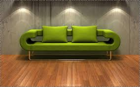 Unusual Shaped Green Sofa Bed With Green Cushion Also Metal Legs ...