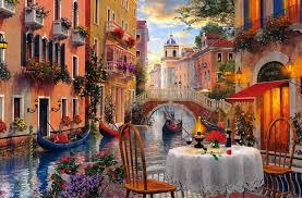 venice al fresca art landscape artwork wide screen cafe painting water italy scenery ilration c free desktop background 1920x1265