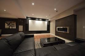 Basement movie theater Walls Modern Big Screen Projector Wooden Beam Ceiling Basement Movie Theater Ideas Shape Brown Leather Sofa Deviantom Modern Big Screen Projector Wooden Beam Ceiling Basement Movie