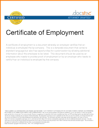 Certificate Of Employment Sample Draft Copy Sample For Valid