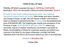 Bill Of Sale Furniture Furniture Bill Of Sale Form Free Forms Templates