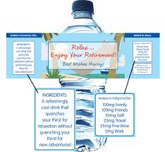 waterbottle labels a retirement theme water bottle label
