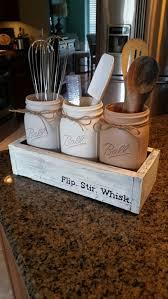 Rustic kitchen decor - mason jar utensil holder - mason jar kitchen decor -  rustic farmhouse kitchen decor - Rustic Mason Jar kitchen decor by ...