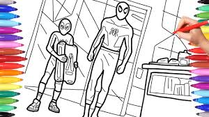 Download your favorite page of spiderman and follow him as he makes this world a safer place. New Spiderman Spiderverse Scene Coloring Pages How To Draw Spiderman Peter Parker And Miles Morales Youtube