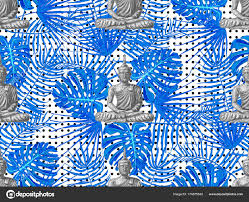 Naadloze Hippies Patroon Met Zithoek Boeddha Palmbladeren Thaise