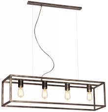 Rustieke Hanglamp In Oud Koper Ruggine Of Zwart Voor 4 E27 Lampen