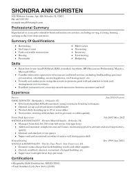 Certification Resume Sample Restaurant Food Service Combination