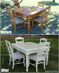 gold stenciled table before and after 2 dining chair before