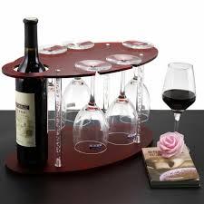 wine 5 glass rack shelf holder table bar top wood wet bar espresso finish bottle
