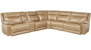 2 999 99 canyon ranch beige 6 pc leather power plus reclining sectional contemporary
