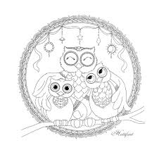 Owl Family Love Coloring Page Hattifant
