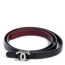 chanel belt. chanel reversible leather cc logo skinny belt 85 black burgundy chanel c