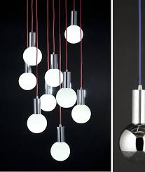... Led Pendant Light Blown Clear Glass Lamp With Red Cable Hanging Lamp  Rhea Led Cord Socket ...