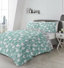 flower silhouette patterned green white cotton blend double duvet cover for