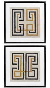 Casa Padrino Designer Bilder Set Mehrfarbig Schwarz 69 X H 69 Cm Dekorative Wandbilder Mit Holzrahmen Designermöbel