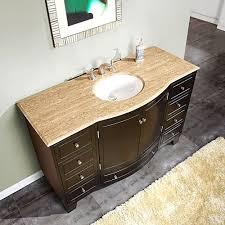 silkroad 55 inch single sink bathroom vanity travertine top