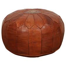 large vintage moroccan leather pouf at stdibs