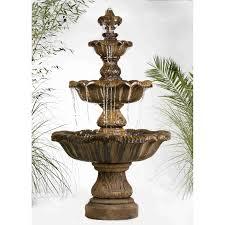 floor outdoor fountains. Heneri Studio Renaissance 3-Tier Outdoor Floor Fountain Golden Moss - 5705F7-GM Fountains D