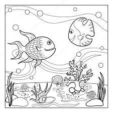 Kleurplaat Paginaoverzicht Van Onderwaterwereld Met Grappige Vissen