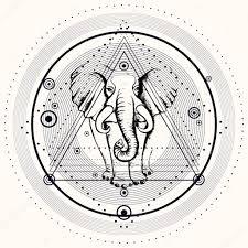 символ слона тату чёрная тату с слон векторное изображение Shik