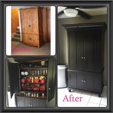 Kitchen Pantry Furniture Turn An Armoire Into A Kitchen Pantry By Rwrenee Organization
