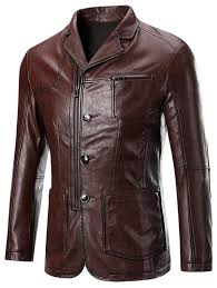 s zippered on up patch pocket long sleeve faux leather jacket for men