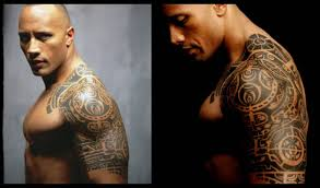 Awesome Two Different Style Picture Of Rock Polynesian Tattoo