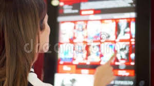 Vending Machine Buyers Delectable Teenager Buying Movie Ticket From Vending Machine At Cinema Female