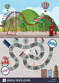 Amusement Park Design Game Amusement Park Maze Game Template Illustration Stock Vector