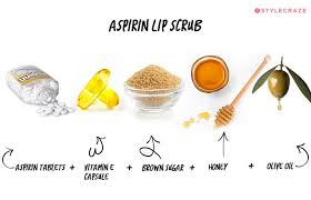 homemade lip scrub aspirin lip scrub