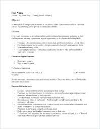 Server Experience Resume Examples Objective For Server Resume Bitacorita