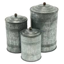 Modern Kitchen Canister Sets Aspire Galvanized Metal 3 Piece Decorative Jar Set Reviews Wayfair
