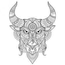Vektorová Grafika Kresba Rozzuřený Býk Pro Obarvení Kniha Tetování