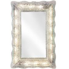 venini rare illuminated textured and colorless murano glass framed mirror for
