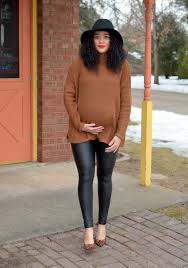 vegan leather leggings via preggo leggings c o use code mim pl 20 for 20 off brown mock neck sweater via she inside leopard print pumps via target on
