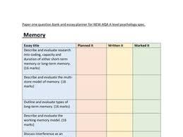 a level psychology essay planner question bank bundle aqa new a level psychology revision paper one essay planner question bank aqa new spec