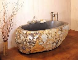 stone and wooden bathtub