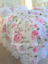 Shabby Cottage Chic Bedding Twin Quilts Comforter Rag Quilt ... & Pink Tiffany Peony Roses Quilt Set Adamdwight.com