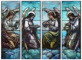 set of four j r lamb studios stained glass windows crafted circa 1900