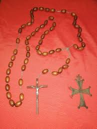 large wooden rosary armenian church cross 2 bronze wood