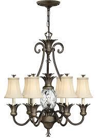 hinkley plantation designer 7 light pineapple chandelier pearl bronze