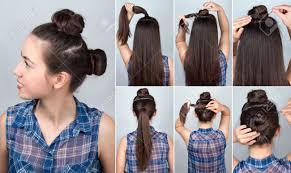 シンプルな髪型 2 面白いツイストお団子のチュートリアルです