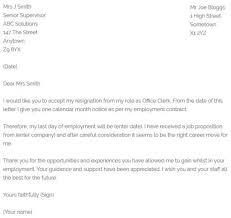 Regain Letter Office Clerk Resignation Letter Example Resignletter Org